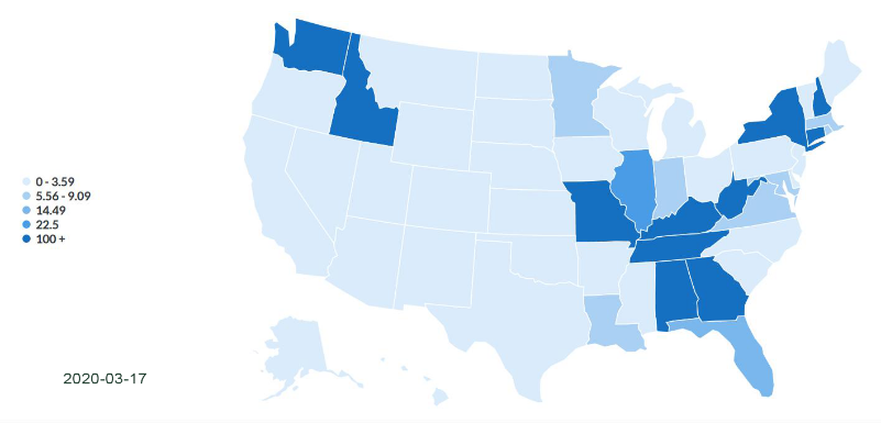 heat map represents the number of court closures in each state