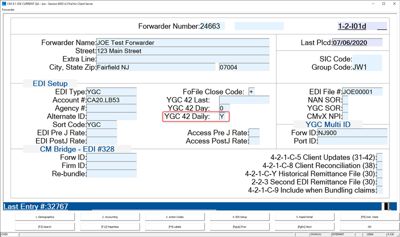 Forwarder Setup on the EDI Setup Screen called YGC 42 Daily