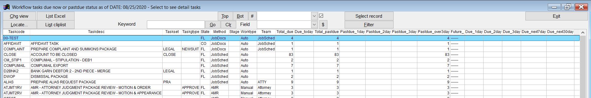 QLaw-E Tasks Due Screen