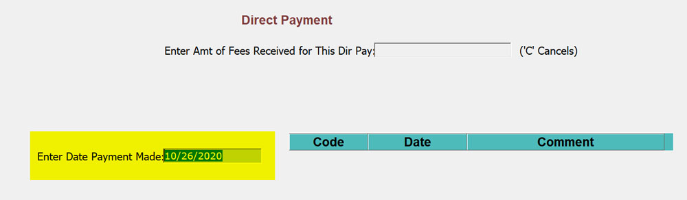 Direct Payment Screen