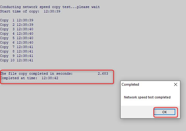 Test Network Speed Dialogue Box