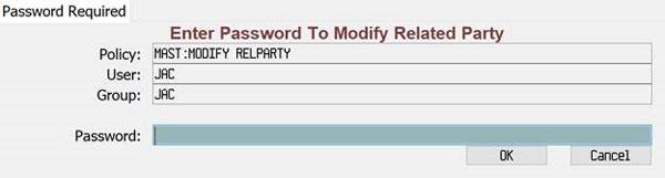 Password required screen shot
