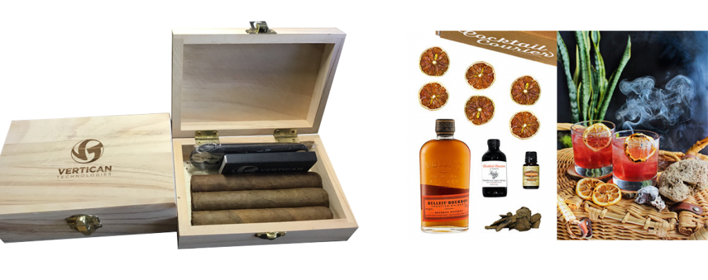 Vertican cigar gift box and BBQ Old Fashioned cocktail kit
