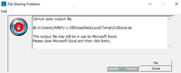 Excel file sharing violation