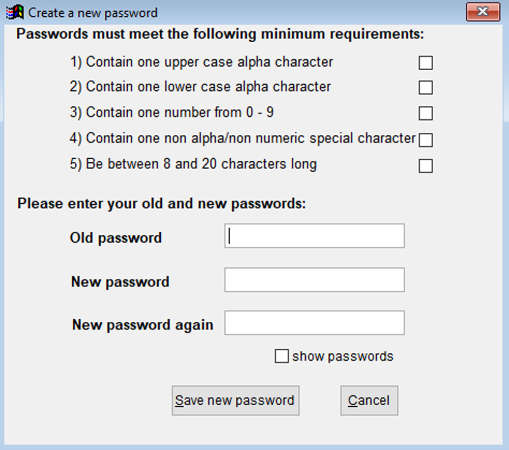 Create a new password dialogue box