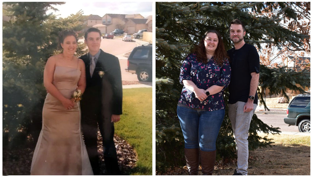 Katherine Byrum and Adam Peplau then and now