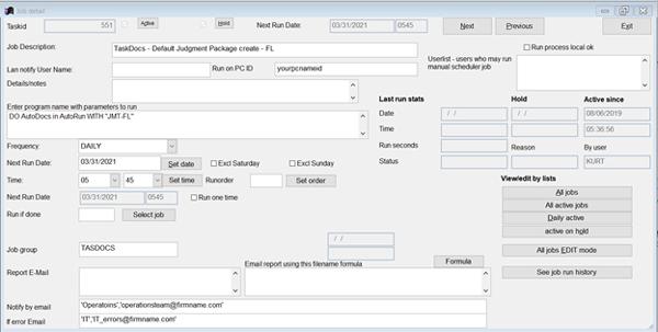 Job Scheduler screen shot