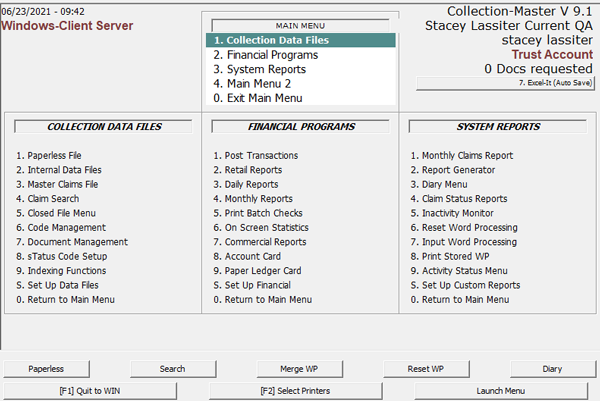 Client Server Window Collection Master