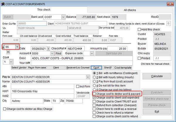 Cost Account Disbursements screen