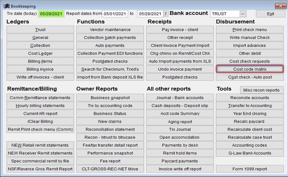 Bookkeeping Screen