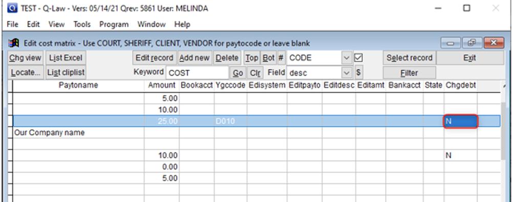 Chrgdebt column of the cost code matrix
