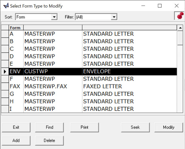 select form type to modify
