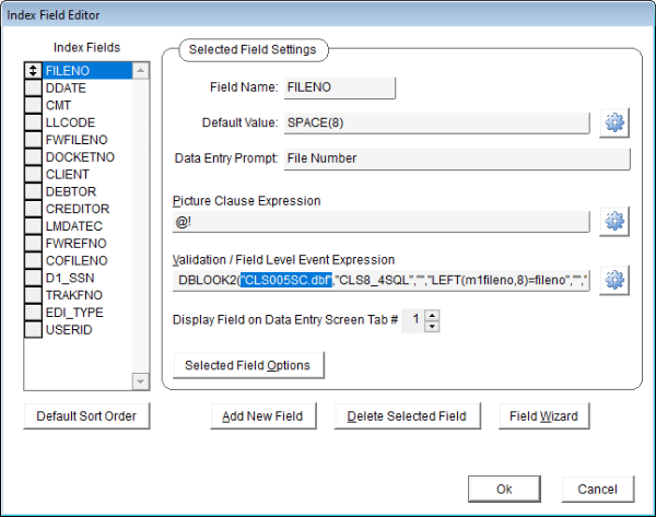 Index Field Editor dialogue box